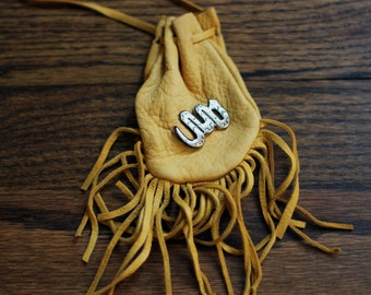 Encantador de Serpientes:  Southwestern Suede Mini Sack Boho Fringe Bag Snake Charm Necklace