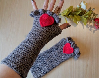 Fingerless gloves with heart/Long gloves crocheted/Sleeves with heart/Romantic Fingerless Gloves crochet/Exclusiv wool Fingerless