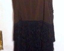 Vintage 1920s dress 20s long maxi gown black long silk fringe rhinestone straps tiered draped glamorous evening flapper gatsby XS