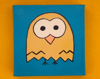 Yellow Owl Painting, 6x6