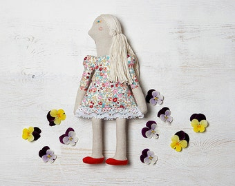 Luna. Luna doll, two sided doll, hand-embroidered doll, Dolls, cloth doll, natural doll