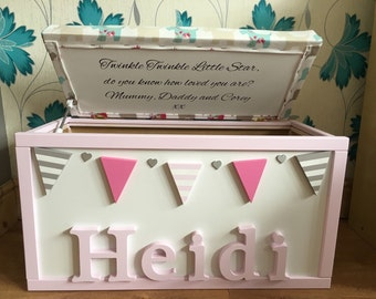 Personlised hand painted toy box made to your specifications **2017 delivery**