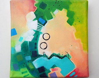 """Puzzle of Color 2 - Original abstract colorful traditional acrylic painting on canvas 6x6"""""""