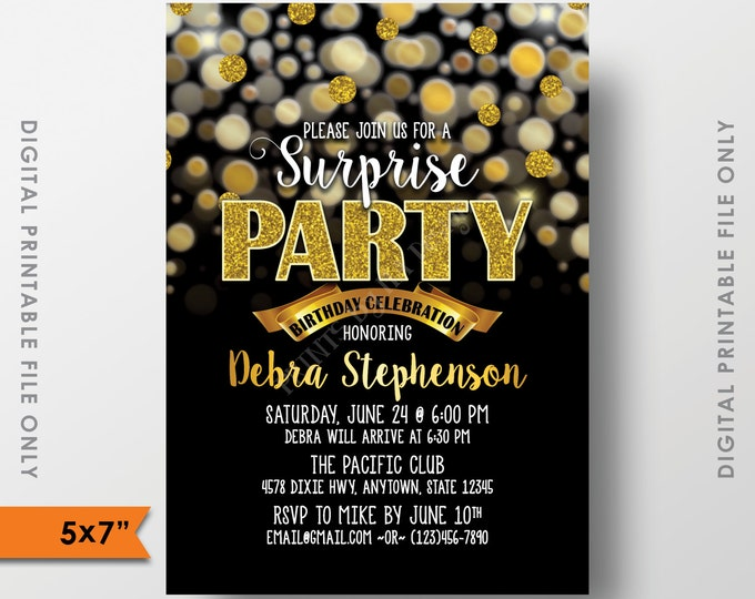 """Surprise Birthday Party Invitation, Black and Gold Bokeh, Gold Glitter Surprise Birthday Party, Surprise Party, 5x7"""" Digital Printable file"""