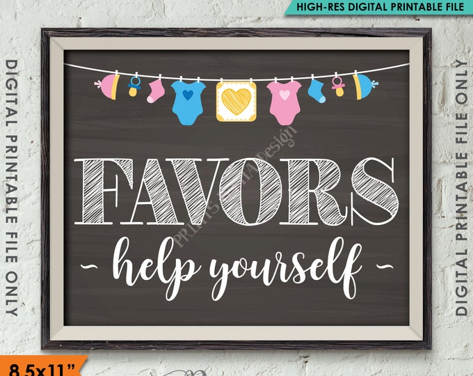"""Favors Sign, Baby Shower Favors Thank You, Take a Favor Baby Shower Sign Decor, 8.5x11"""" Chalkboard Style Instant Download Digital Printable"""