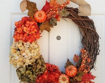 Fall Wreath, Fall Wreaths, Fall Home Decor, Fall Hydrangea Wreath, Fall Decor, Fall Mantle Decor, Fall Front Door Wreath, Fall Decorations