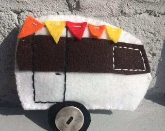 Vintage caravan, Retro caravan, bunting, chrome hubcaps, glamping, summer caravan holidays, camping