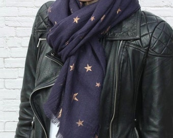Personalised Warm Woven Oversized Star Scarf (HBS04)