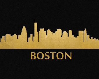 Boston Skyline Gold Foil Print 8x11
