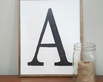 Initial Wall Art, Alphabet Letter Sign, Letter Sign, Distressed Sign, Wall Gallery Art