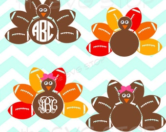 Monogram Football Turkey SVG and studio files for Cricut, Silhouette, Vinyl Cutters and Screen Printing