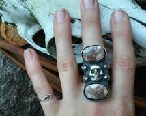 Made to your size custom beautiful double wild horse magnesite skull and star cross bones handmade witchy halloween statement ring