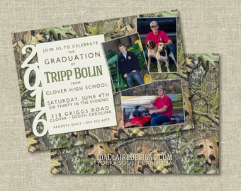 Camo Graduation Announcement Digital Download | Party Photo Card