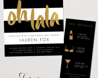 Black, White and Gold Bachelorette Party Invitations - Printable