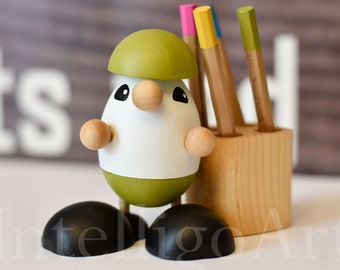 Handcrafted Artist Design Wooden Gnome Pencil Holder with Pencils Eco Gift Unique Handmade #0008