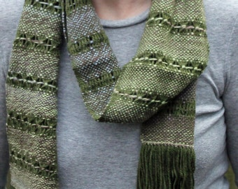 Handspun Handwoven Green & Blue Merino Wool and Acrylic Scarf