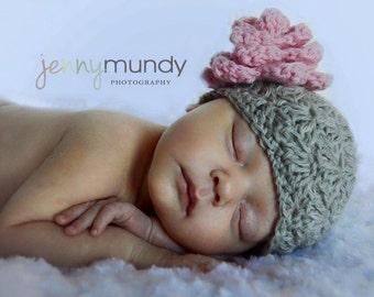 Baby Crochet Hat With Oversized Crochet Flower