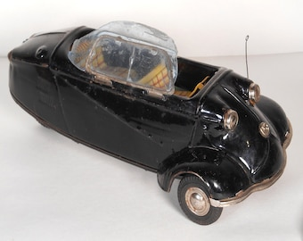 Vintage and Rare 1950's, Japanese Bandai, Tin Litho Messerschmitt, 3-Wheel Friction Car