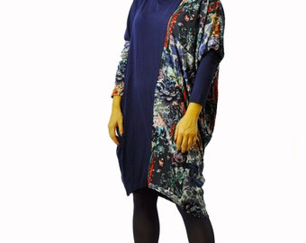 Long maxi tunic/Casual sleeves tunic/Oversize tunic/Blue asymmetrical tunic/Hooded tunic/Dress with hood/Lycra maxi handmade tunic/T1370