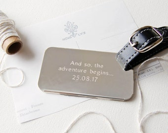 Personalised Silver Plated Luggage Tag ~ Birthday Gift, Wedding, Anniversary, Travel Accessory