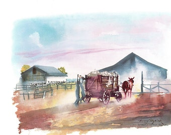 This looks to be a water color of a homestead along the Mississippi from the book Timeless River