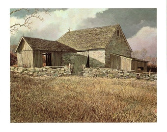 The old New Jersey Stone Barn from the back painted by Eric Sloane for the book I Remember America
