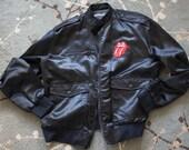 Vintage Racer Jacket Rolling Stones beverly hills motoring men's sz L RARE hot lips black members only motorcycle bomber