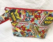 Comic Book Heros Medium Sized Basic Zippered Project Bag