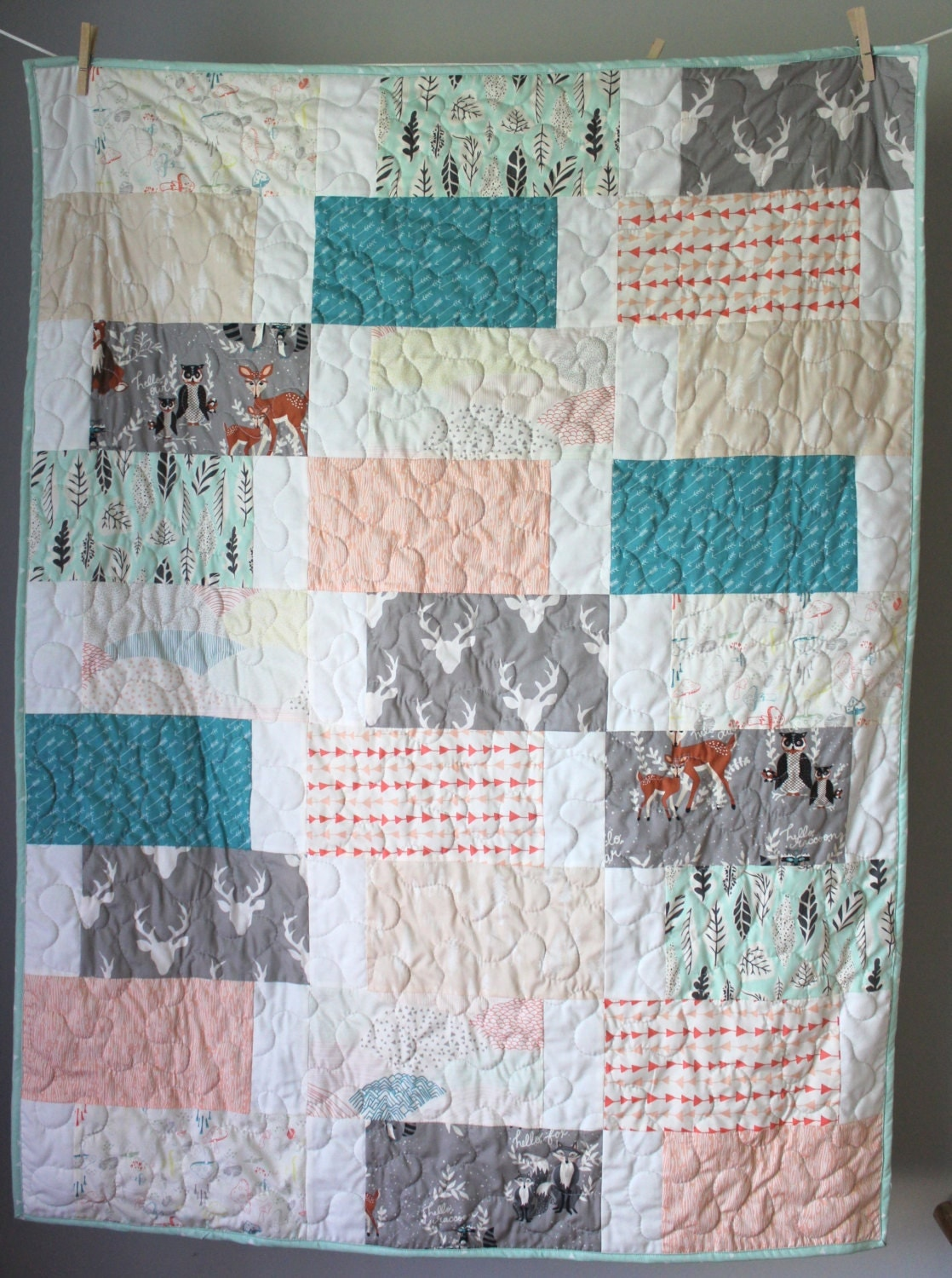 Gender Neutral Baby Quilt Woodland Baby Quilt Minky Back