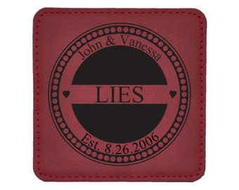 Personalized Monogram With Last Name and Date - Wedding Gift - Special Occasion - Choice of Coaster Color and Shape - 030