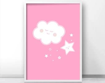 Nursery Print For Girl, Cloud Nursery Art, Pink Wall Art Print,  Baby Girl Art, Pink Print, Girl Nursery Art,  Pink Nursery Decor, Cloud Art