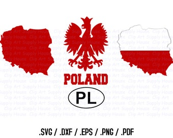 Poland Clipart, Polish SVG Files, Polish Eagle Silhouette Files For T-Shirt Transfers or Stickers, Silhouette File, Polish SVG - CA213