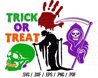Happy Halloween Clipart, Halloween SVG File, Zombie, Hand, Skull, Grim Reaper SVG, Screen Printing, Silhouette, Die Cut Machine - CA348