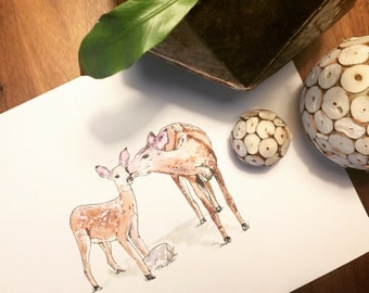 Doe And Fawn Watercolor and Ink