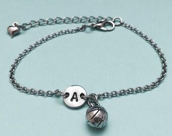 Basketball charm bracelet, basketball charm, adjustable bracelet, sports charm, personalized bracelet, initial bracelet, monogram, sports