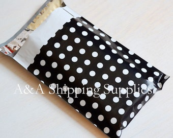 """Any quantity Black White Polka Dots 6""""x9"""" Poly Envelopes, Quality Bags, Flat Poly Mailing Shipping Bags, UPS FedEx USPS Approved"""