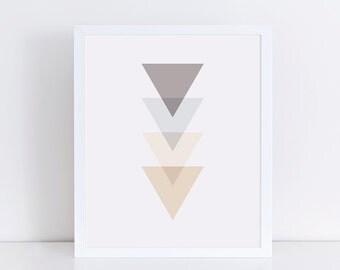Neutral Geometric Triangle Art Print, Modern Minimalist Wall Decor