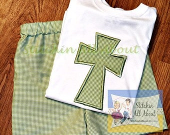 Boys Easter Cross Shirt- Baby Boys Easter Shirt- Toddler Boys Easter Shirt- Your Choice of Fabric Colors- 6m, 12m, 18m, 2t, 3t, 4t, 5, 6