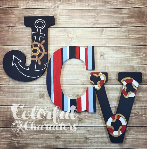 Nautical Hand Painted Wooden Letters Made To Match