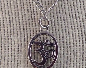 Om Pendant Necklace - Oval Antique Silver Om Necklace