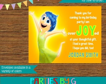 Inside Out JOY Birthday Thank You Notes Note Cards Personalized Custom