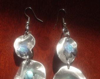 Double Flower Earrings with agate celesti