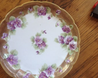 Antique Luncheon Plate with Violets and Gold Gilt