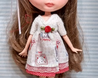 Bòythe knitting dress white and red with bears