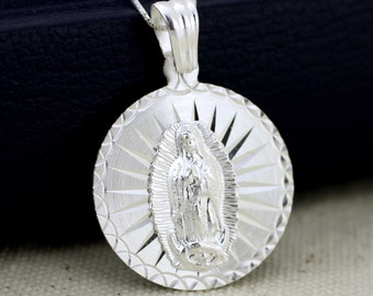 Sterling Silver Our Lady of Guadalupe Medal, Virgen de Guadalupe Necklace, Virgin Guadalupe Pendent, Virgin Mary Necklace, Guadalupana