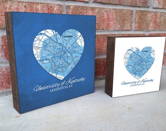 University of Kentucky Wildcats Lexington Ky Map ART PRINT on Wooden Canvas, wedding, Valentines day gift for her, graduation gift