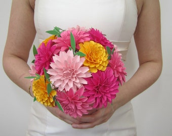 Dahlia Wedding Bouquet, Bridal Bouquet, Paper Flowers, Paper Bouquet