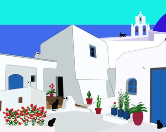 Ibiza village art print-Architecture-Black cats Large Print-Greece print-Andalusian print-Cool Mediterranean poster-Minimalist wall art
