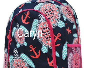 Backpack Sea Turtle with Hot Pink Trim and Monogram, Sea Turtle Backpack