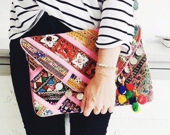 Banjara Clutch, Banjara Bag, Vintage Bag, Ethnic Tribal Clutch Bag, Gypsy Clutch, Indian Clutch, Tribal Bag, Boho Clutch, called Nova Pink
